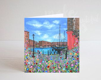 Jo Gough - The Albert Dock with flowers Greeting Card