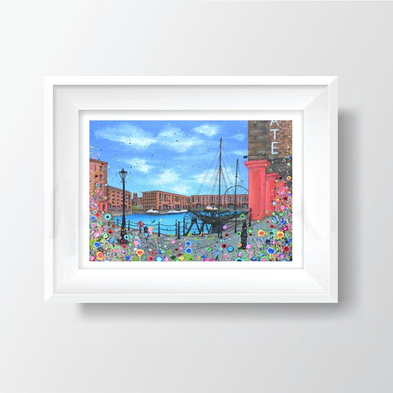 Jo Gough - The Albert Dock with flowers A4 Print