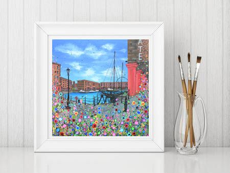 Jo Gough - The Albert Dock with flowers Print From £10