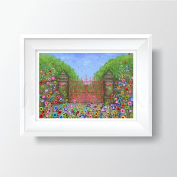 Jo Gough - Strawberry Field Gates with flowers A4 Print