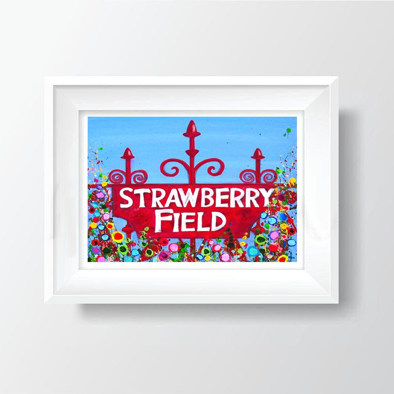 Jo Gough - Strawberry Field with flowers A4 Print