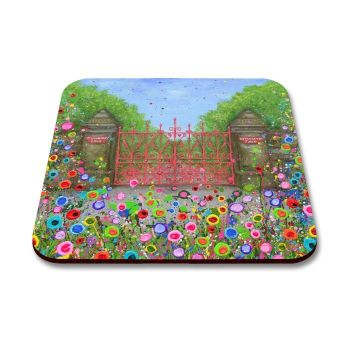 Jo Gough - Strawberry Field Gates with flowers Coaster