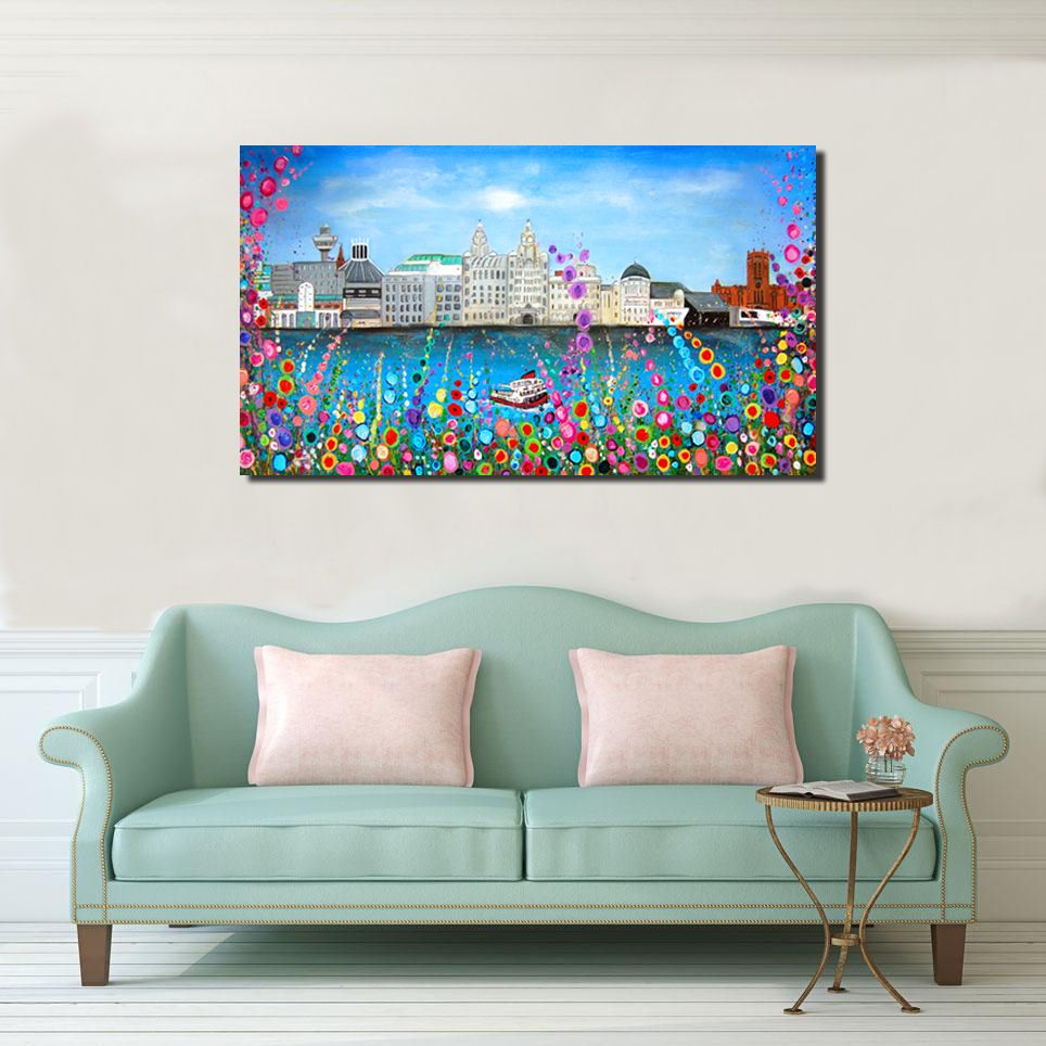 Jo Gough - Liverpool Skyline Hand Embellished Canvas Print (Version 1) From