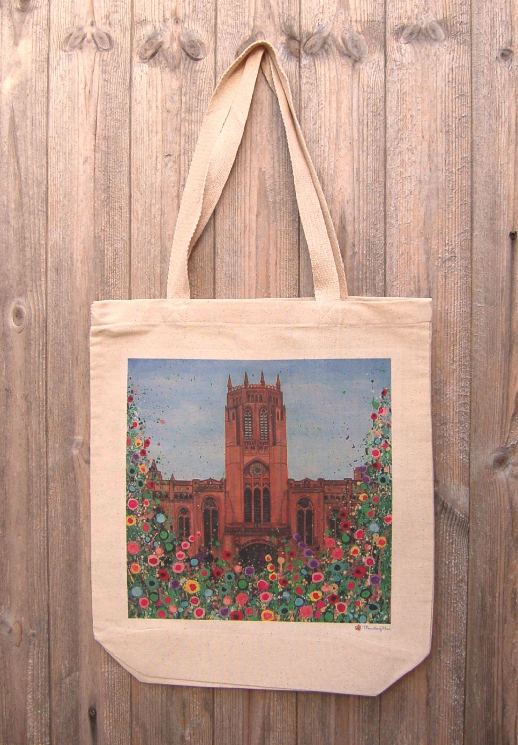 Jo Gough - Liverpool Anglican Cathedral with flowers Tote Bag