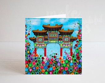 Jo Gough - Liverpool's Chinese Arch with flowers Greeting Card