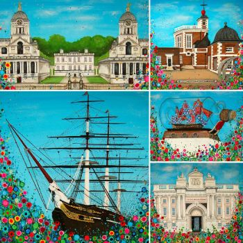 Jo Gough - Greenwich Montage flowers Cushion