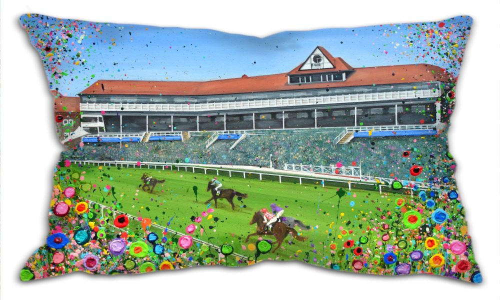 Jo Gough - Chester Racecourse with flowers Oblong Cushion