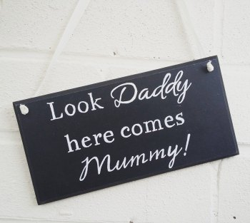 Wedding Here comes Mummy handmade & painted sign plaque