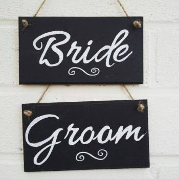Wedding  Bride & Groom Plaques Signs Customised