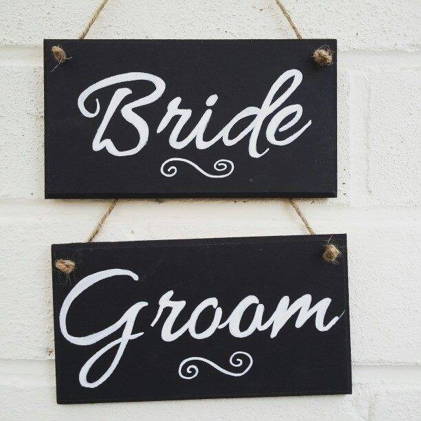 Bride & Groom chalkboard wedding decor signs