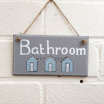 Bathroom beach hut beach seaside holidays grey sign plaque handmade handpainted