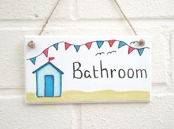 Bathroom Beach huts plaque sign handmade