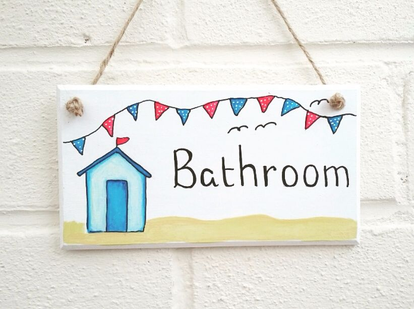 Bathroom Beach huts plaque sign handmade