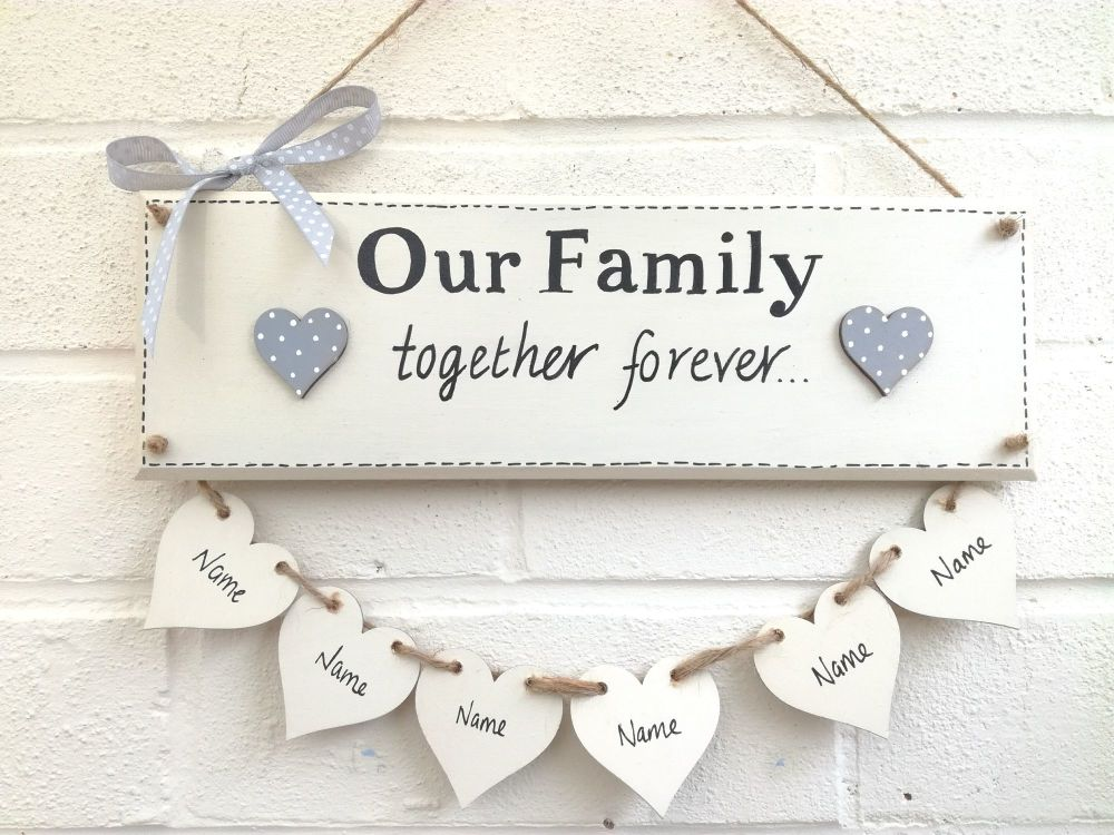 Large Family Plaque personalised handmade handpainted 5-8 hearts