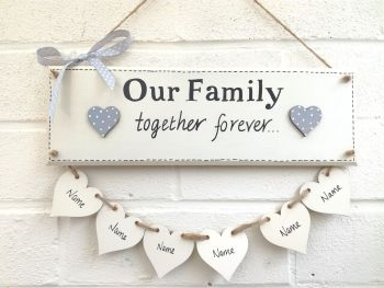 Large Family Plaque Personalised  For 5-8 Hearts