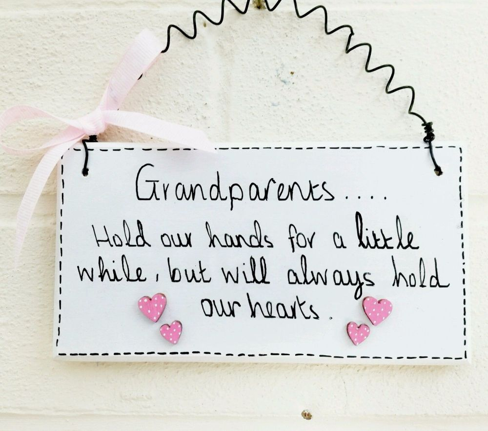 Grandparents plaque sign handmade family hearts love hand painted gift idea