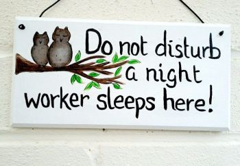 Do Not Disturb Plaque Sign Owl Theme Personalised