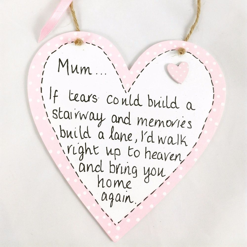 Mum Mother memorial gift heaven angels gifts heart plaque wood sign hand pa