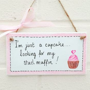 Cupcake Cute And Quirky Handmade Plaque Sign Persoponalised