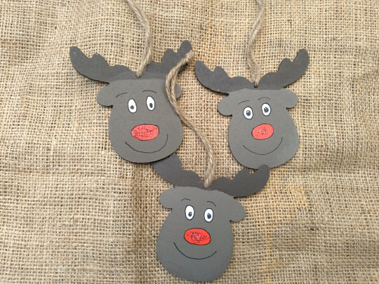 Reindeer Christmas decoration Rudolph personalised wood Xmas Christmas gift