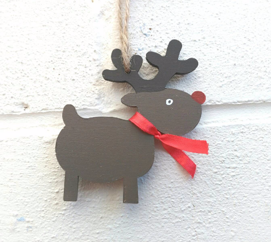 Reindeer Christmas decorations Rudolph handmade handpainted personalised Xm
