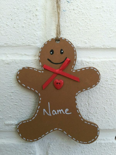 Gingerbread man Christmas tree decoration personalised handmade handpainted
