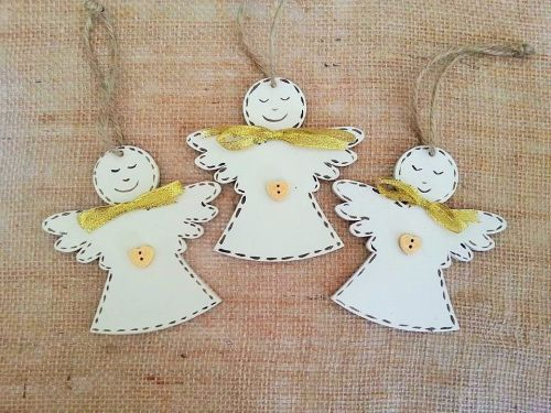 Christmas Decorations Hand Painted And Personalised Angels Tree