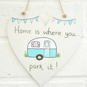 Caravan Campervan Plaque Heart Shaped Sign