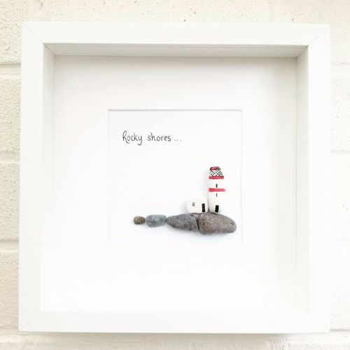Pebble Picture Art Lighthouse Sea Wedding Gift Anniversary