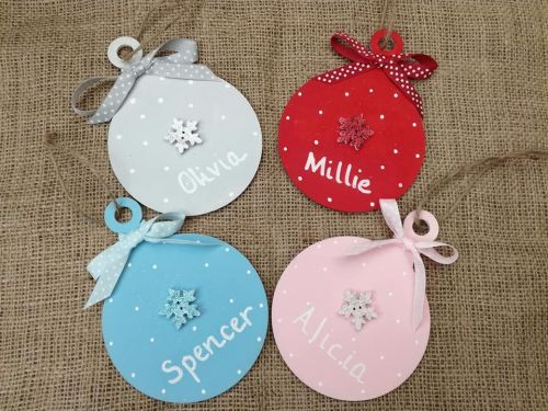 Christmas Tree Decoration Hand Painted Wood Baubles Personalised