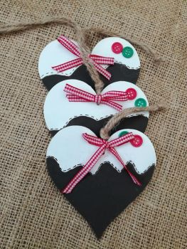 Christmas Tree Decoration Heart Shaped Xmas Pudding Design