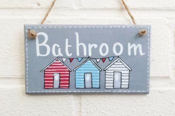 Beach Huts Plaque Sign Bathroom Decor