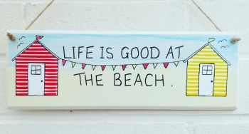 Beach Huts Plaque Sign Large Personalised