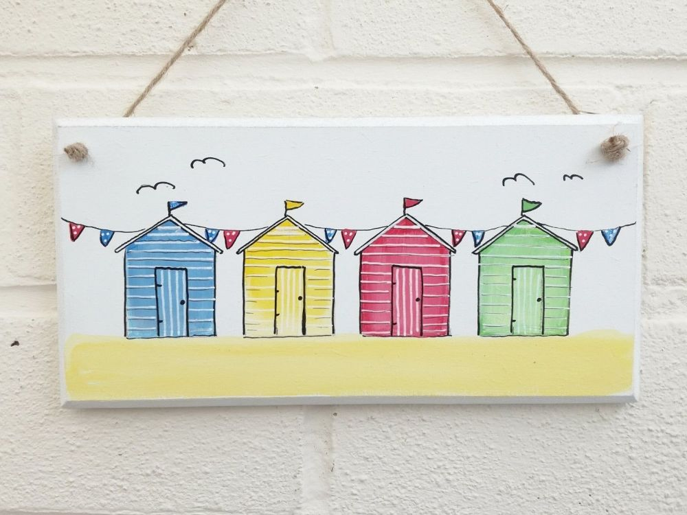 Bathroom sign, bathroom wall art, Beach huts plaque, beach plaque, gift for