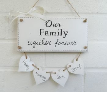 Family Personalised Plaque Up To 4 Hanging Hearts