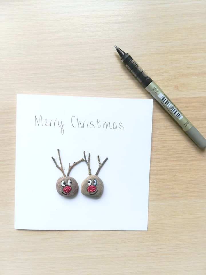 Christmas Pebble Art Card Rudolph Reindeers