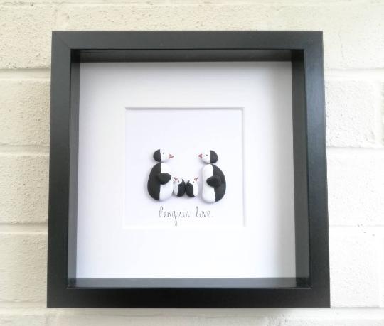 Pebble Picture Pebble art Penguin Family framed gift idea