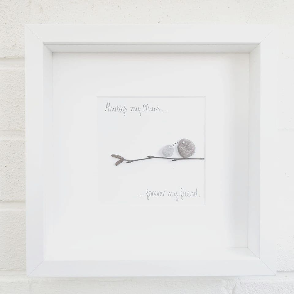 Mum Mothers Day Pebble Art Picture Framed