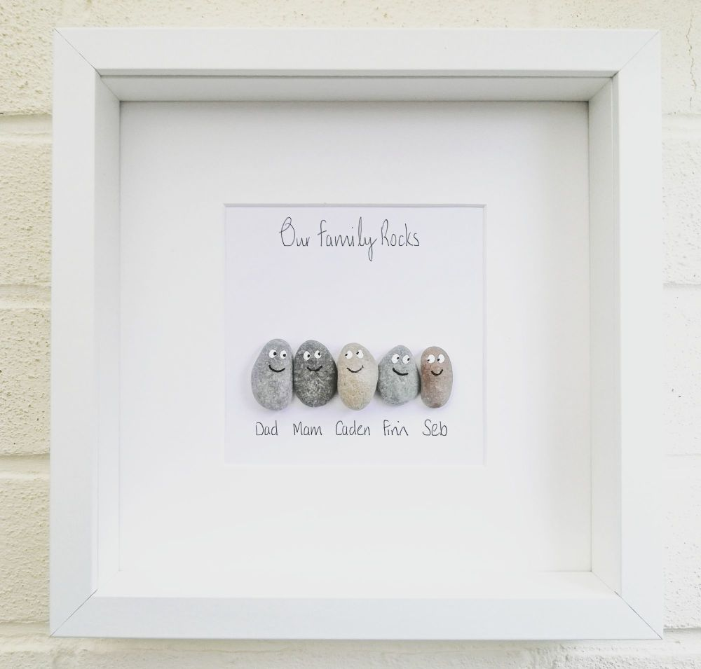 Pebble Art Family Picture - Handmade Personalised Framed Gift