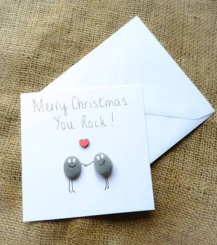 Handmade Pebble Art Christmas Card 'You Rock'