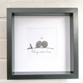 Pebble Art Picture - Owls Cuddle Love - Framed Gift Idea