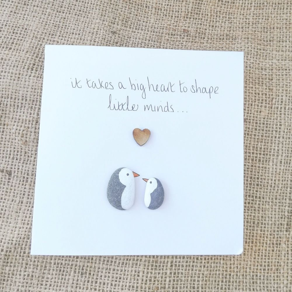 Pebble Card Penguin Thank you Teacher fully personalised