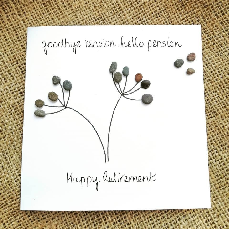 Retirement Card - Leaving Card - Pebble Art Picture Personalised