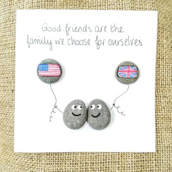 Best Friends Flags Of The World Pebble Art Card
