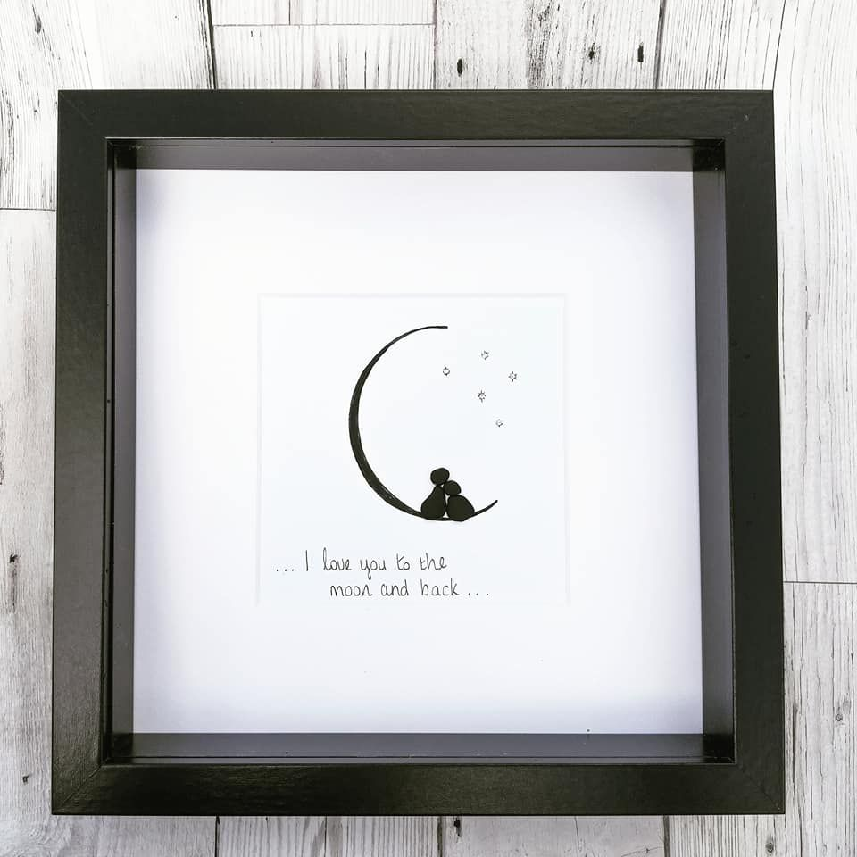 Pebble Art Picture Moon And Stars Loved One Framed Gift Idea
