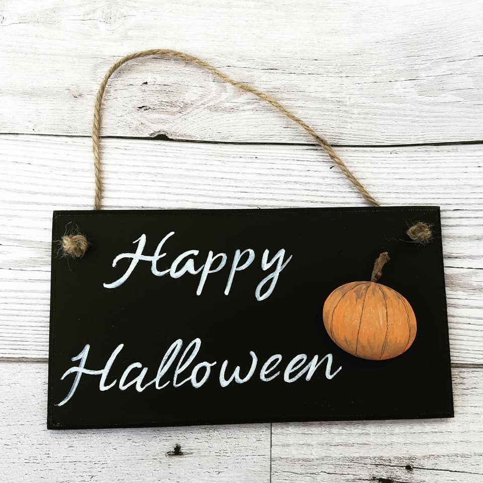 Happy Halloween Wood Plaque Pebble Art Home Decor