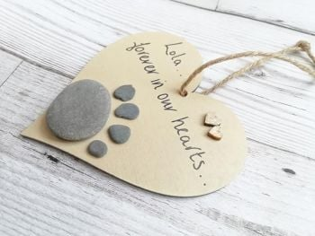 Paw Print Pet Memorial Pebble Art Personaliased