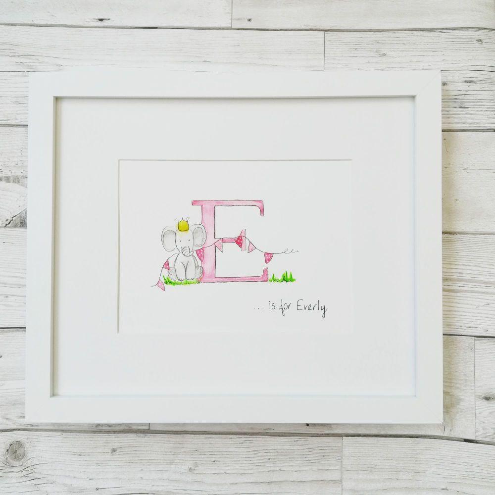 Nursery Wall Art  Personalised Original Watercolour Unisex Boy Girl - Not A