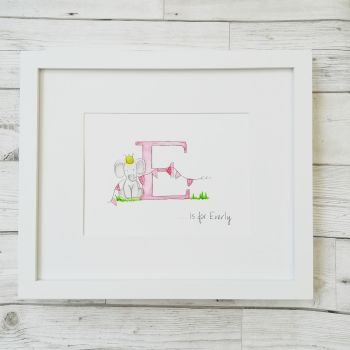 Nursery Wall Art  Personalised Original Watercolour Unisex Boy Girl - Not A Print