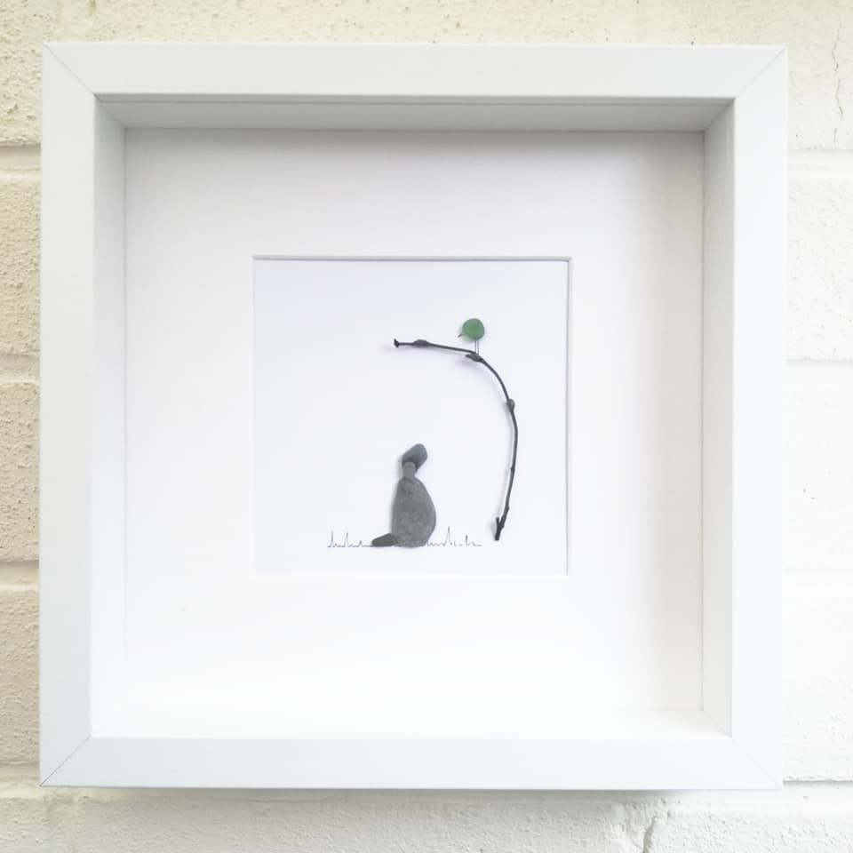 Pebble Art Sea Glass Picture Framed Dog And Bird Personalised